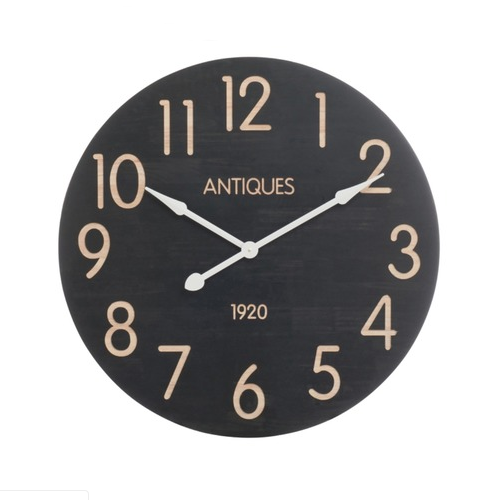 Wall Clock 'Antiques 1920' Black Beige Large