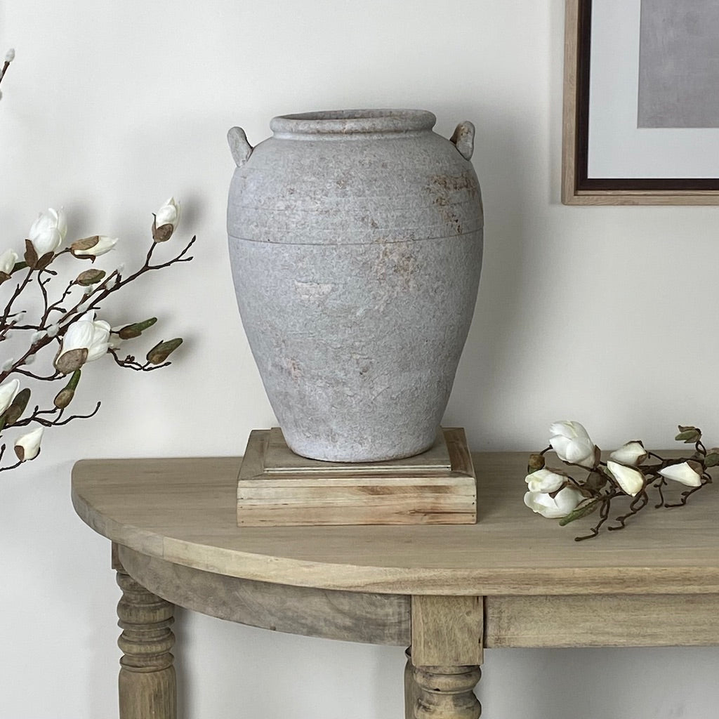 Antiqued Distressed Light Grey Rust Two Handle Pot