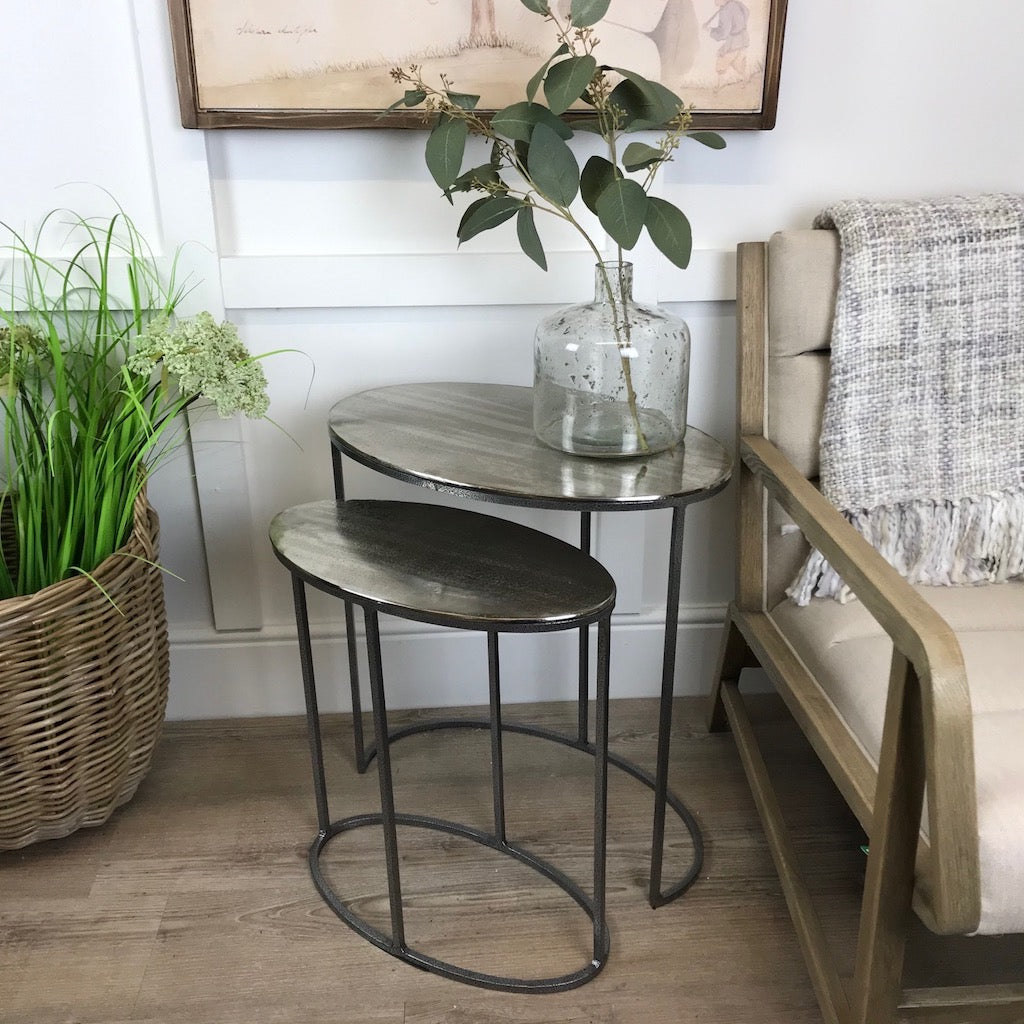 Vintage Silver Oval Nesting Tables Set 2