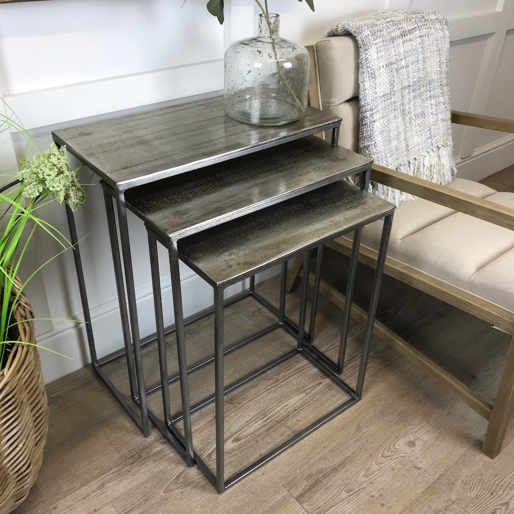 Side Table Nest 3 Slim Vintage Silver Rectangular