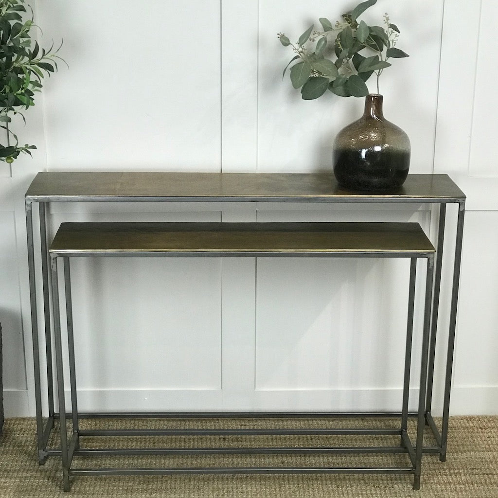 Vintage Brass Metal Overlapping Narrow Console Table Set 2