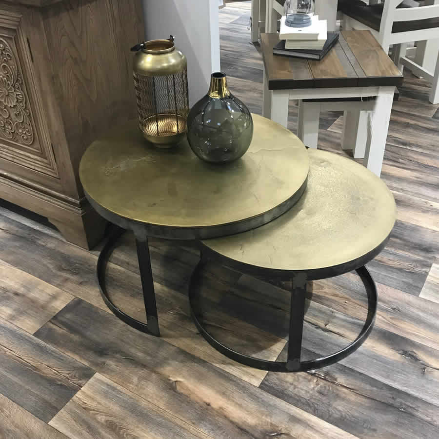 Antique Hammered Brass Layering Tables Set 2