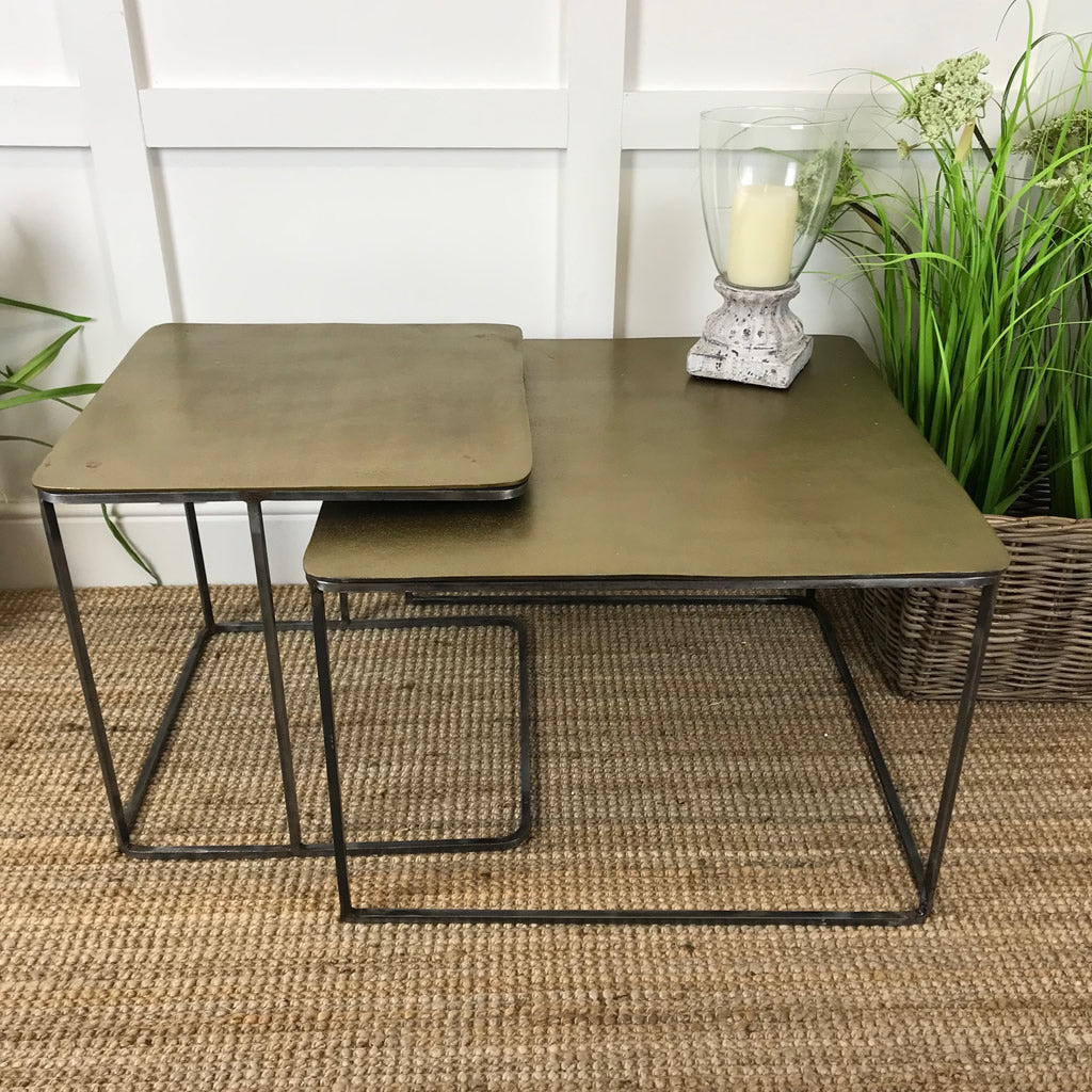 Brass Square Coffee Nesting Tables Set 2