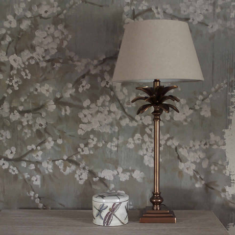Antiqued Copper Palm Tree Table Lamp Base