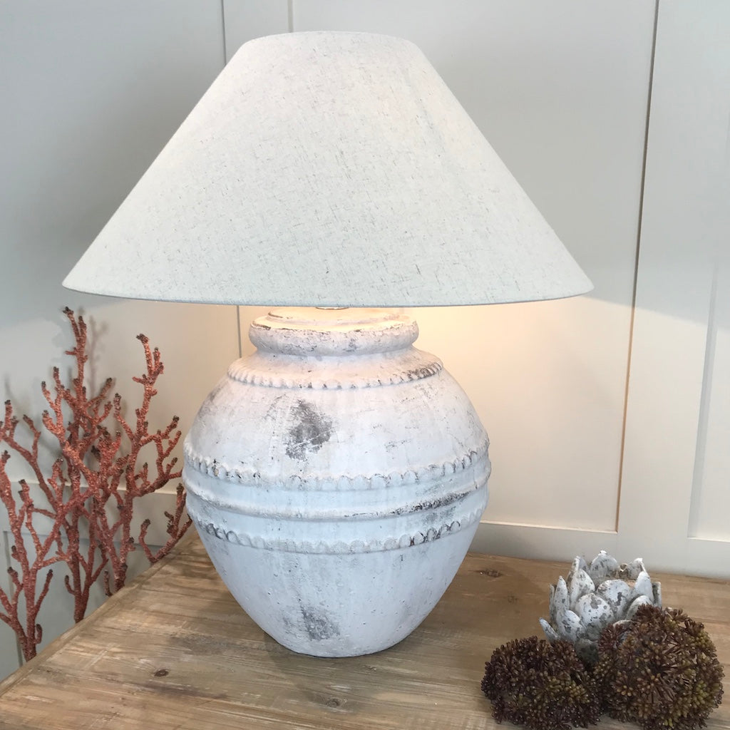 Large Grey Tuscan Stone Effect Aged Ceramic Table Lamp