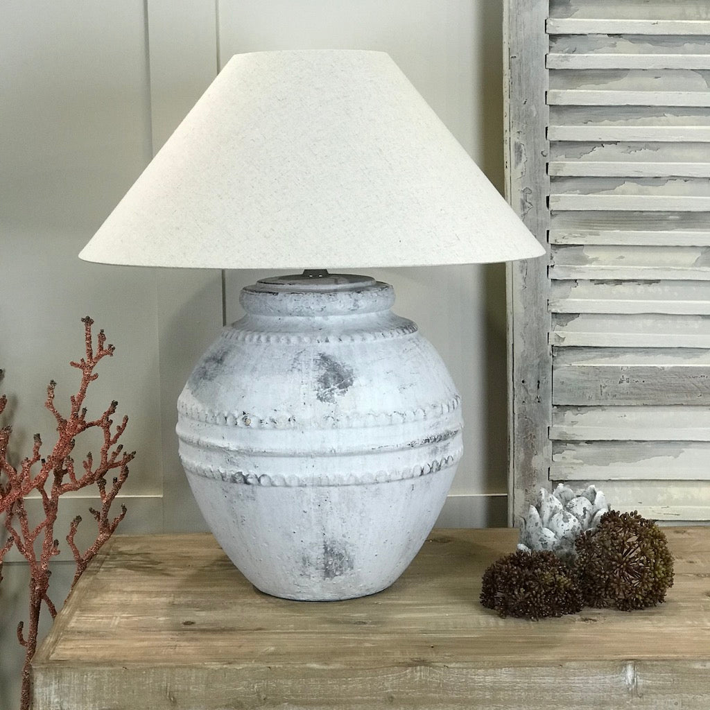 Large Grey Tuscan Stone Effect Aged Ceramic Table Lamp With Shade Option
