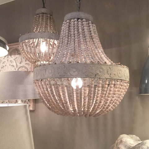 Old White Wooden Bead Chandelier with Distressed Metal Detail - Luna