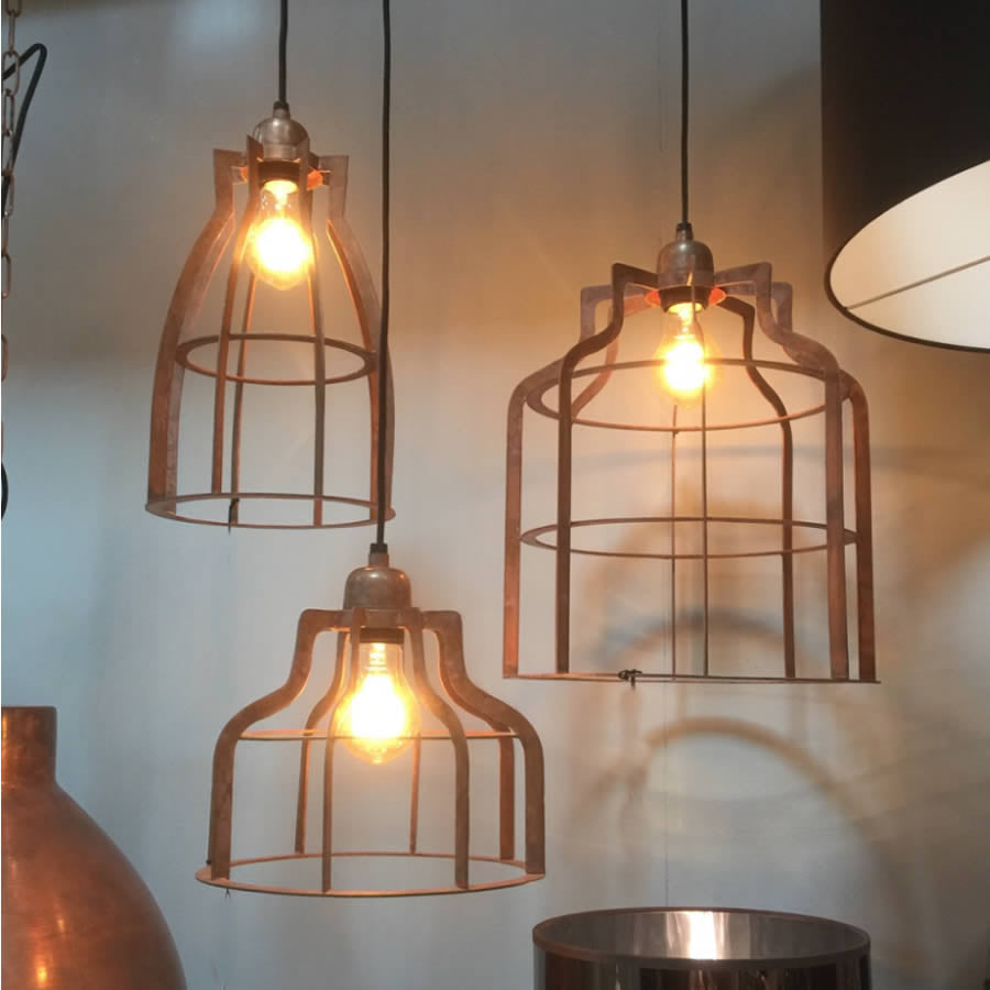 Vintage Copper Open Wire Ceiling Pendant Light