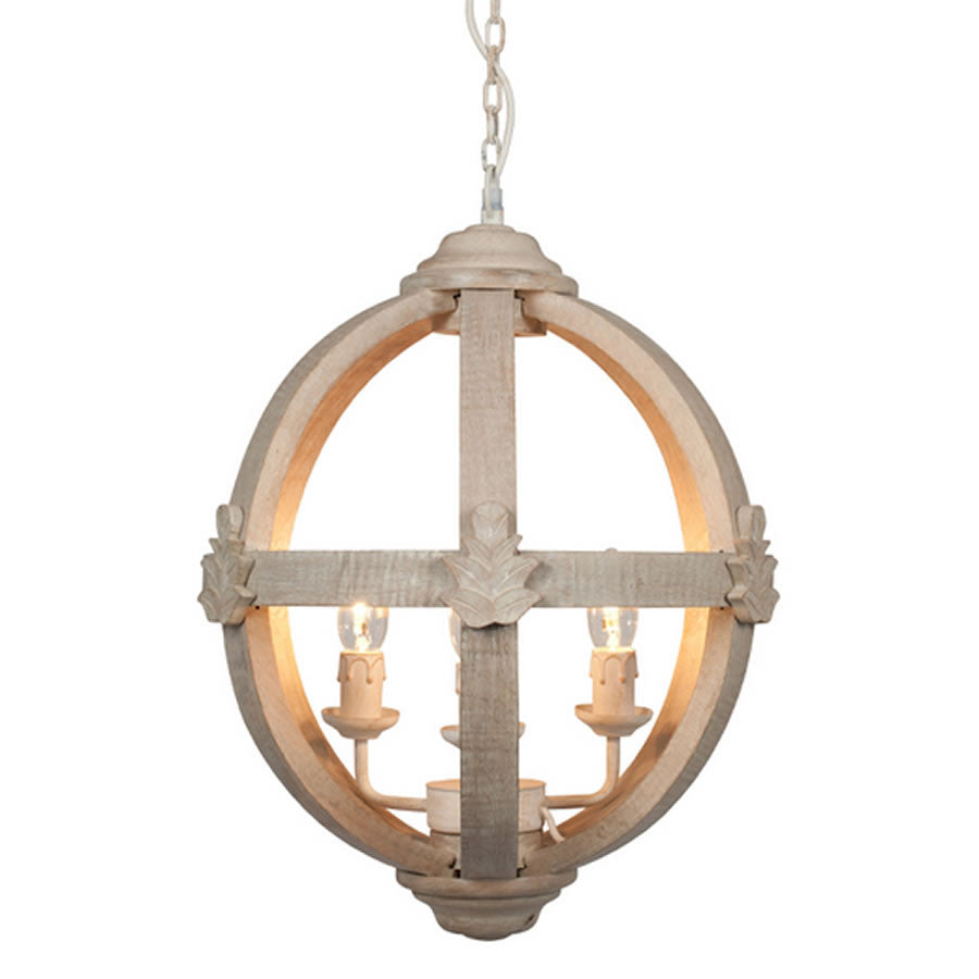 Medium Round Wooden Orb Chandelier