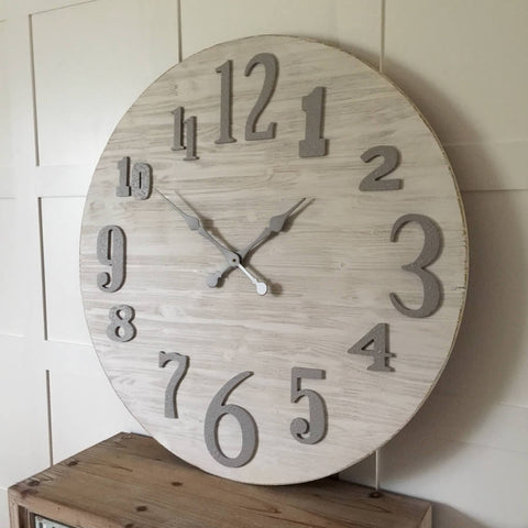 Large Round Coastal Rustic Whitewashed Cream Wood Clock