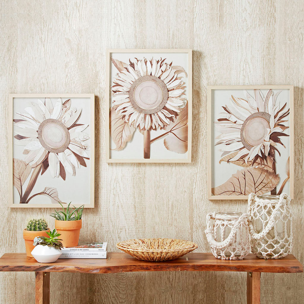 Sunflower Decoupage Pictures Natural Pale Wash Wooden Frame Trio