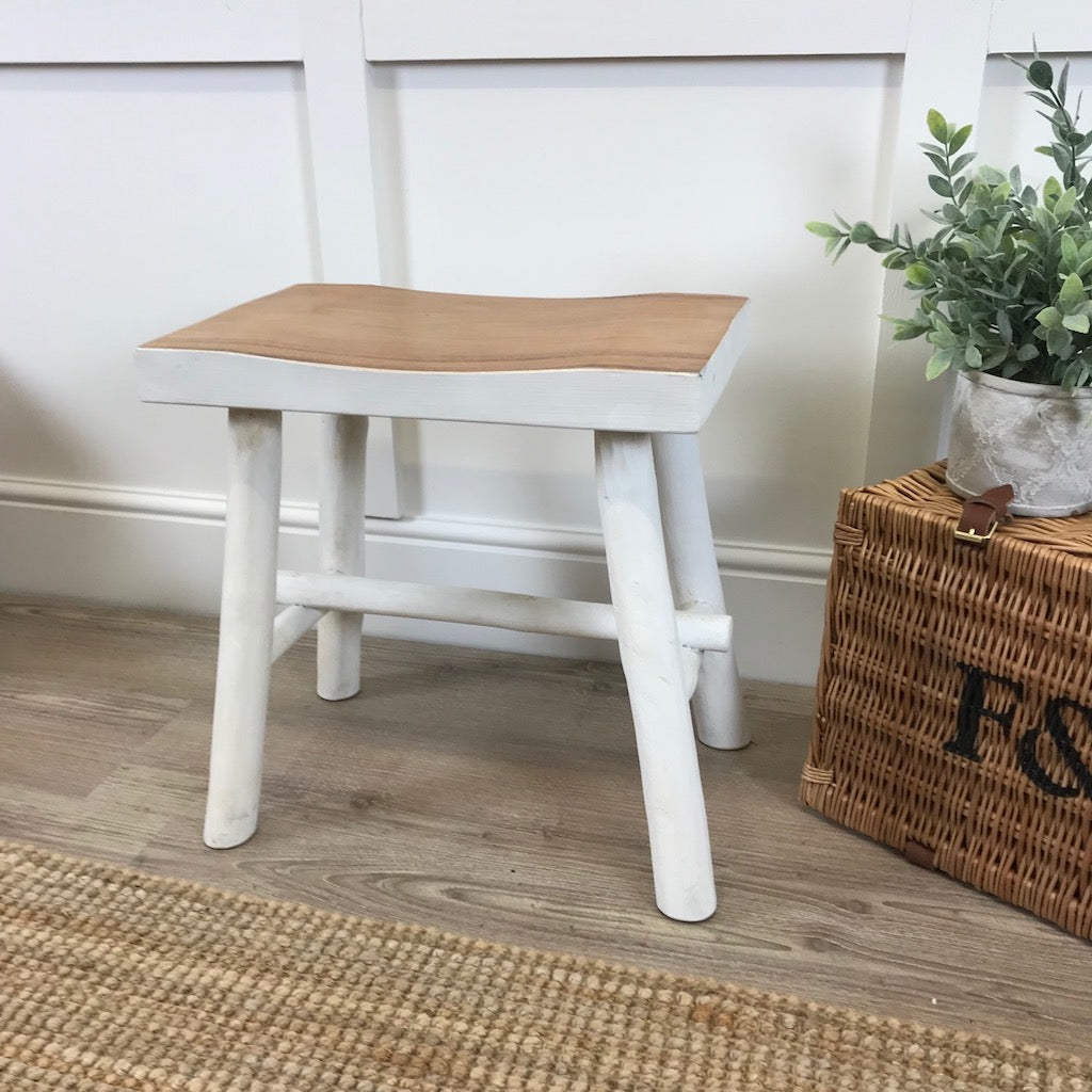 Rectangular Wooden Stool White Natural Dark Wood