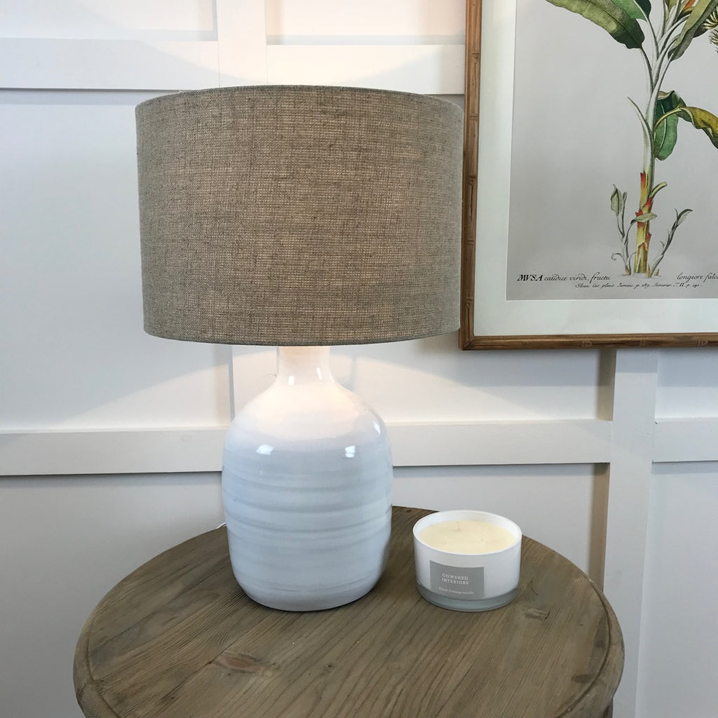 Small White Ceramic Glazed Bottle Lamp Natural Hessian Shade