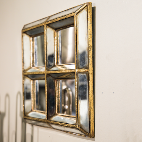 Vintage Antiqued Three Dimensional Square Mirrors