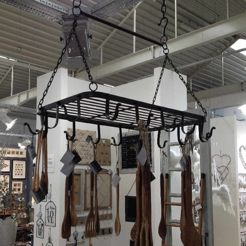 Suspended Pot Hanger Black Coated Metal from Parlane