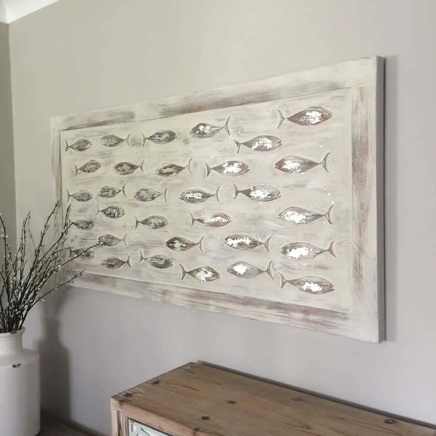 Fish canvas with carved wooden fish with silver embellishing wall art