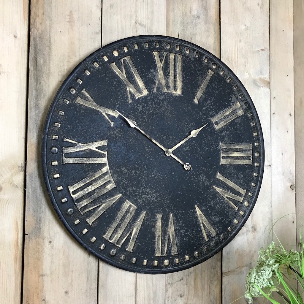 Distressed Antique Black Wall Clock