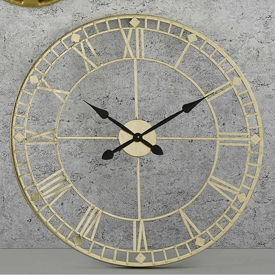 Gold Metal Roman Numeral Round Wall Clock
