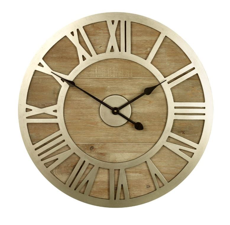 Wood Frame Metal Roman Numeral Face Wall Clock