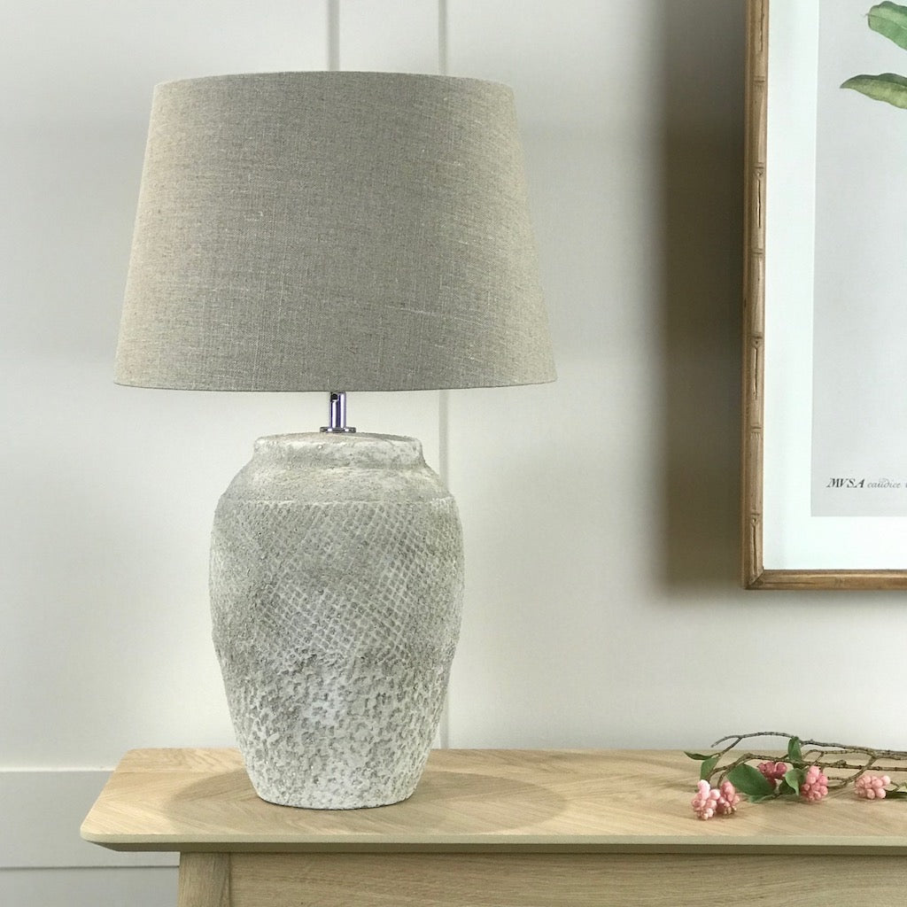 Rough Cast Lattice Detail Table Lamp With Shade