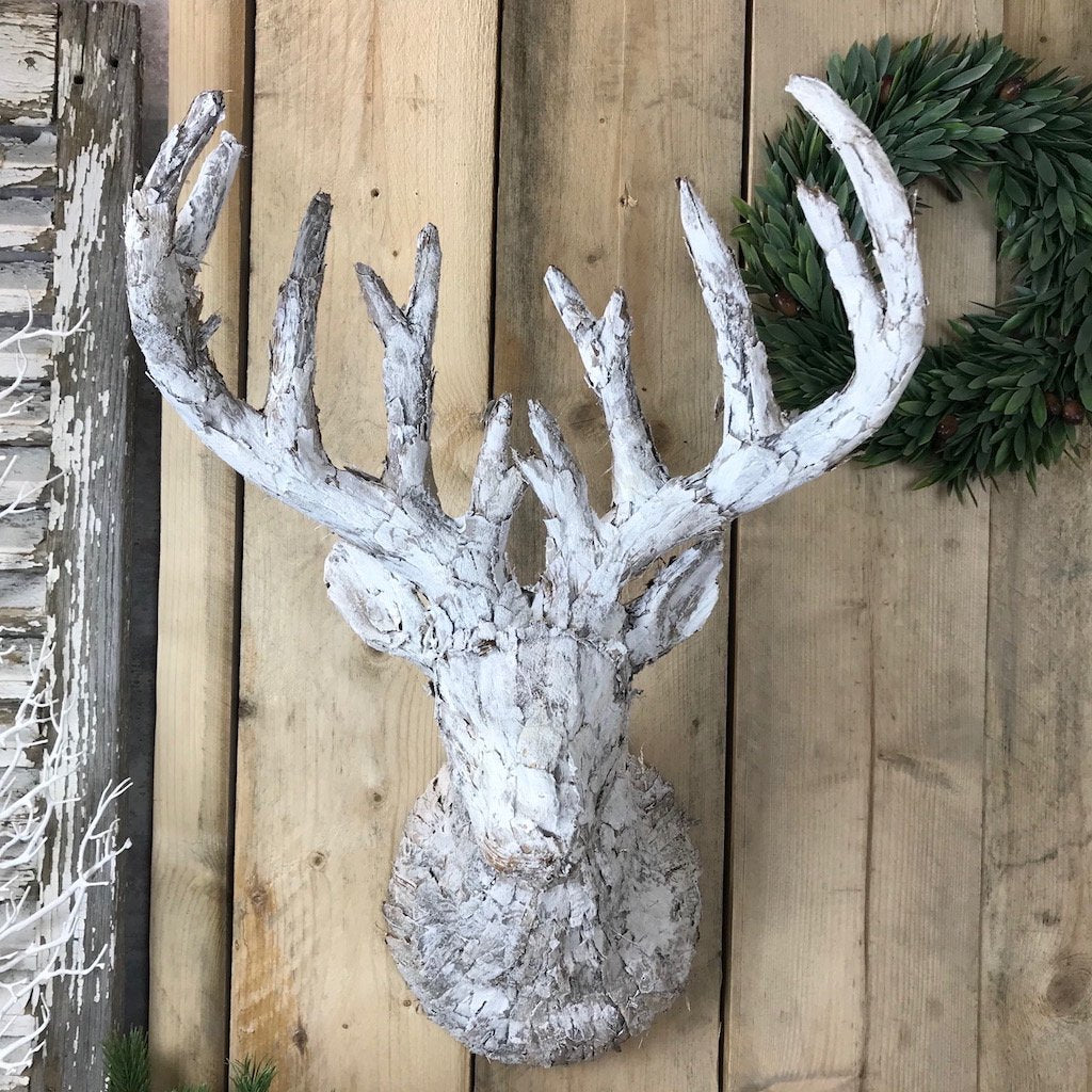 Large White Reindeer Head Wall Hanging