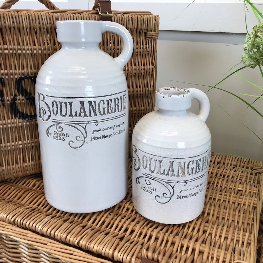 Ceramic Boulangerie Distressed Bottle Old White by Parlane