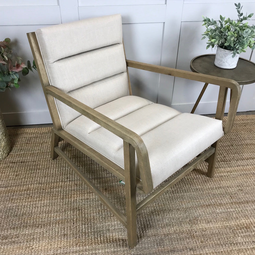 Oak Framed Occasional Armchair Linen Fabric