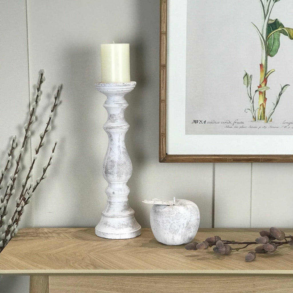 Whitewashed Stone Effect Candlestick