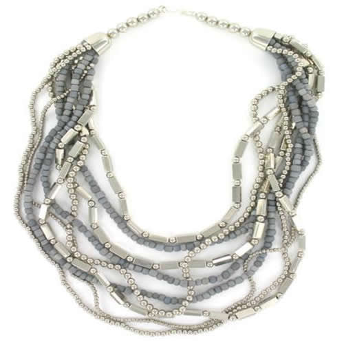 Blue Grey Silver Metal Shell Multistrand Necklace