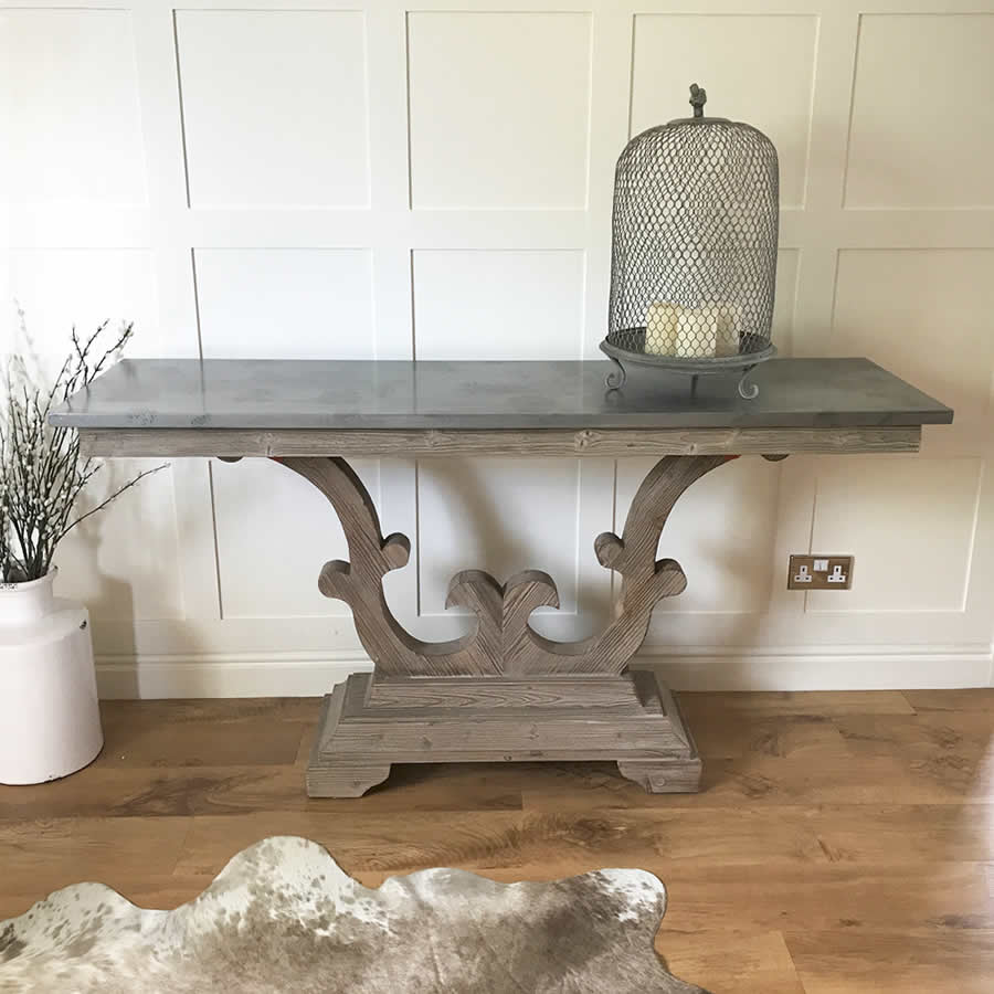 Scroll Base Console Hall Table with Zinc Top