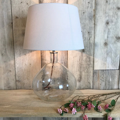 Clear Dimpled Glass Large Lamp Fabric Flex