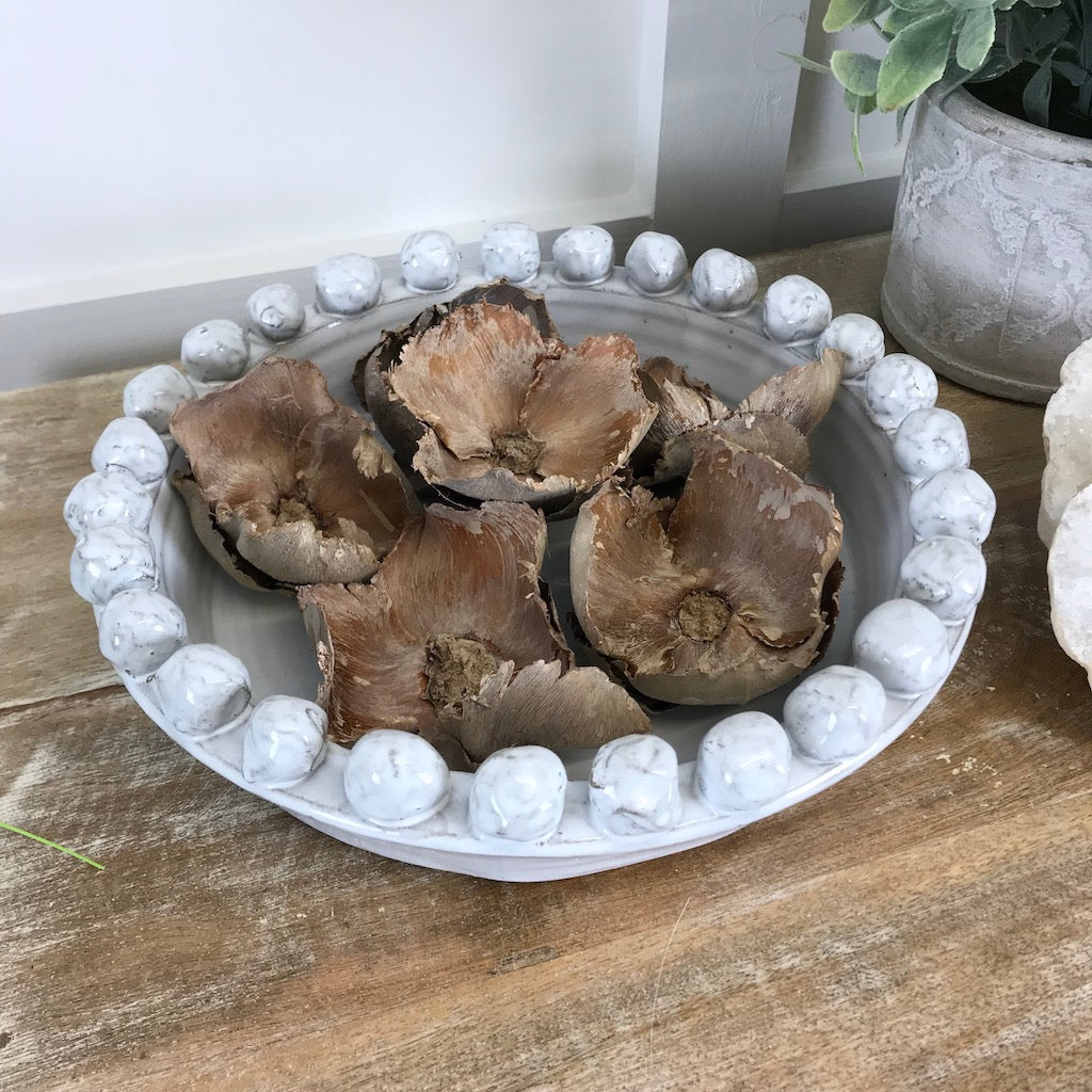 Pale Grey Glaze Shallow Pom Pom Bowl