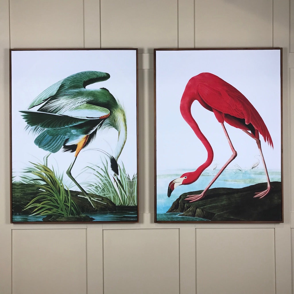 Large Green Tropical Crane Canvas Picture Wood Frame