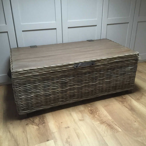 Handcrafted Timber Rattan Large Storage Coffee Table Vintage Wooden