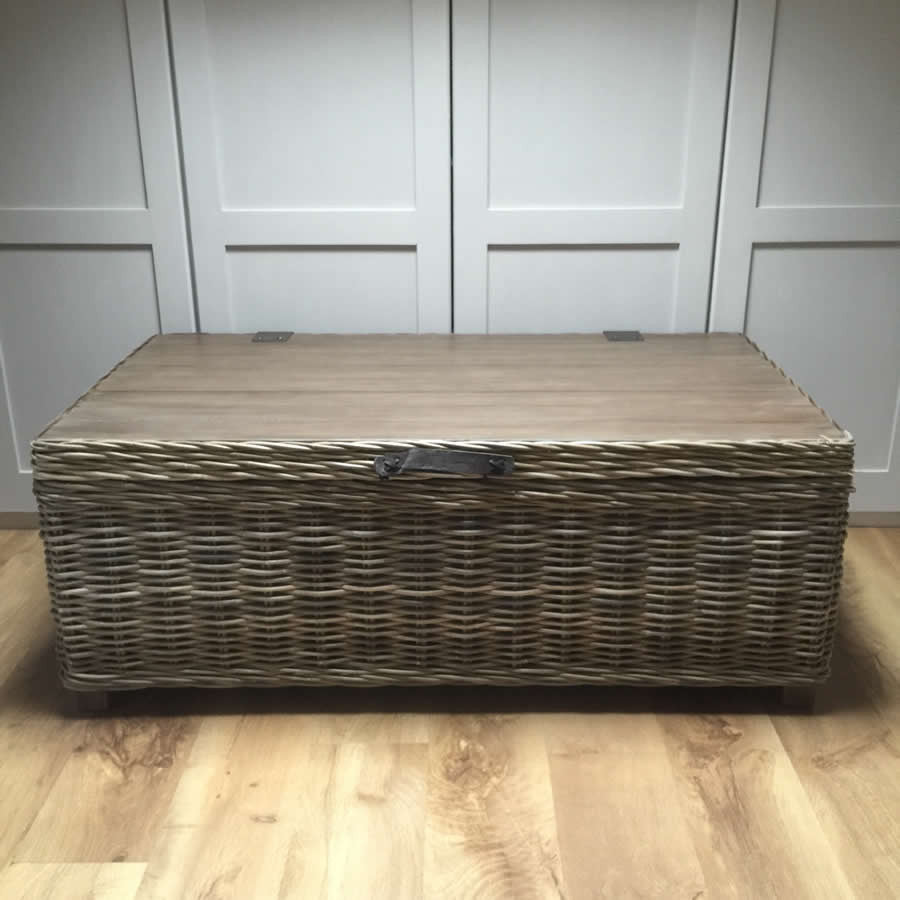 Handcrafted Timber Rattan Large Storage Coffee Table with Vintage Wooden Top