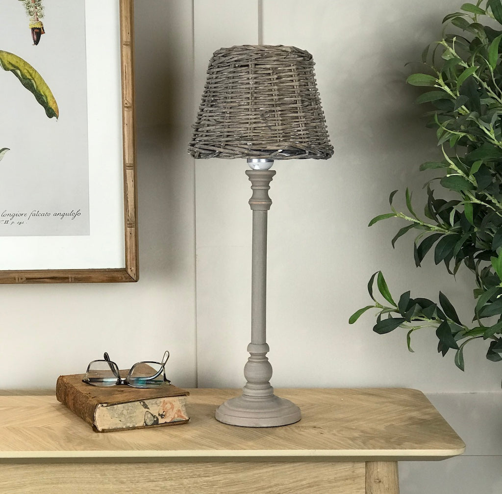 Tall Turned Taupe Bedside Table Lamp Wicker Shade