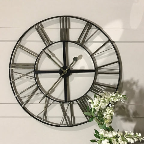 Distressed Metal Roman Numeral Round Wall Clock