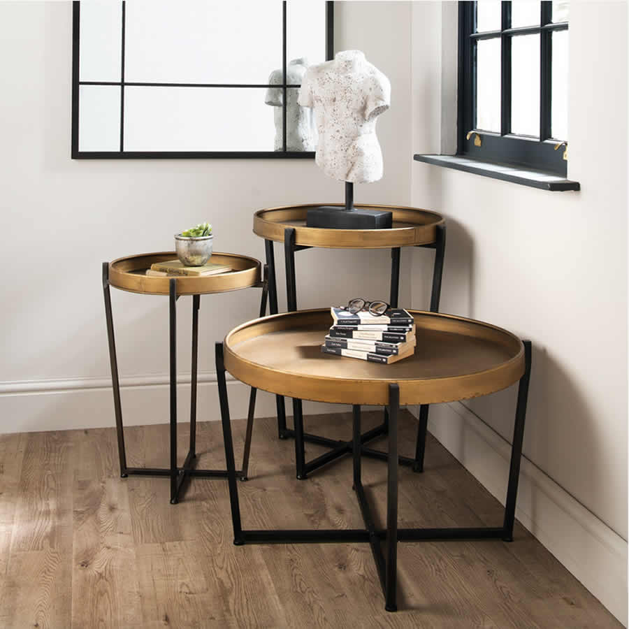 Bronze Coloured Iron Tables with Black Iron Legs