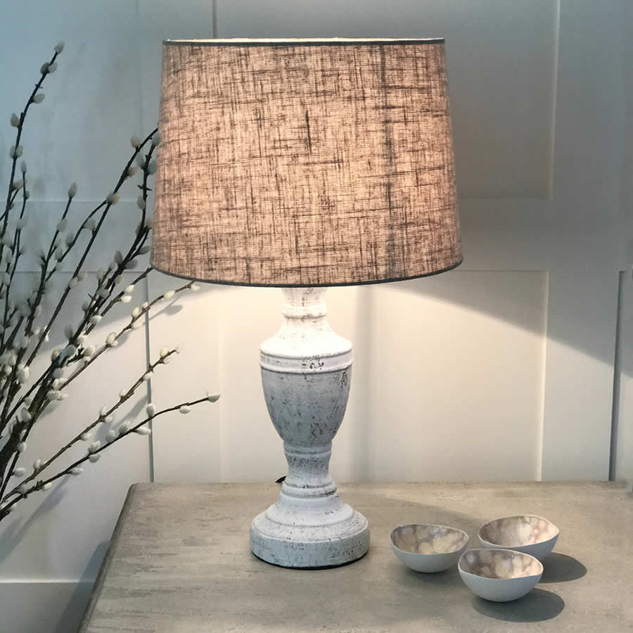 Antique white table lamp wooden lamp cowshed interiors antique white distressed table lamp linen shade aloadofball Images