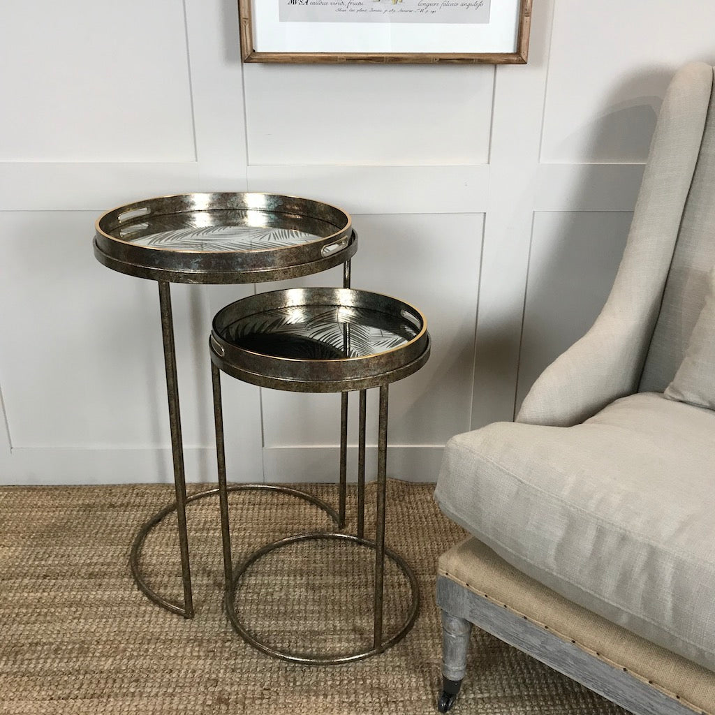 Side Table Nest 2 Vintage Bronze Gold Removable Palm Tray Top