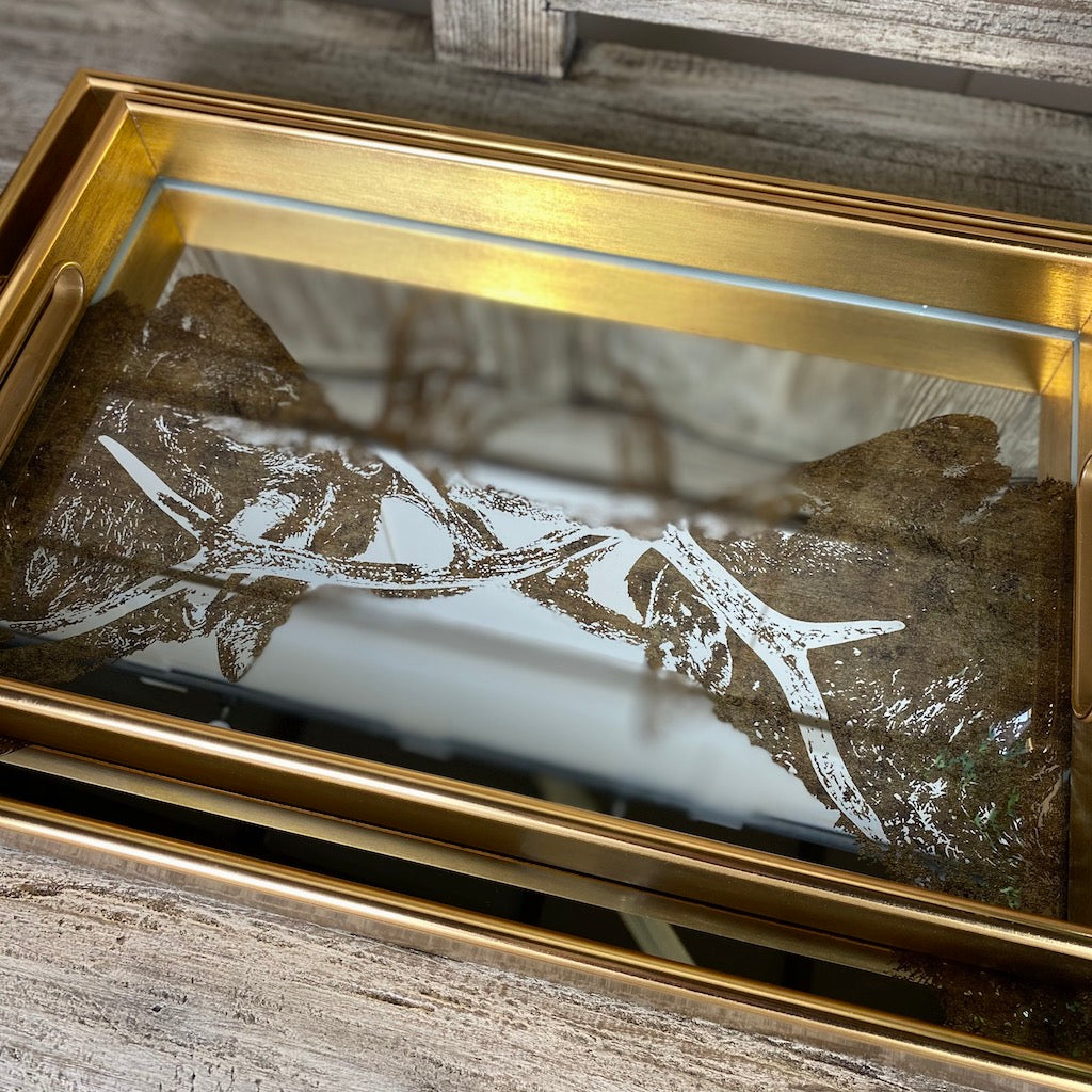 Rutting Stags Rectangular Marbled Pattern Mirrored Tray Set 2
