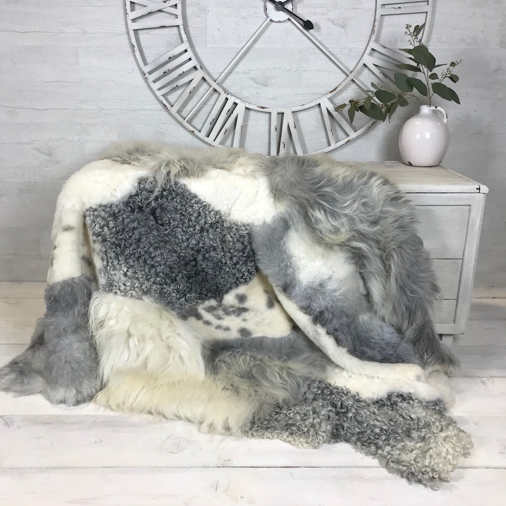 Luxury Design Multi Textured Sheepskin Rug Natural Grey and Ivory No1