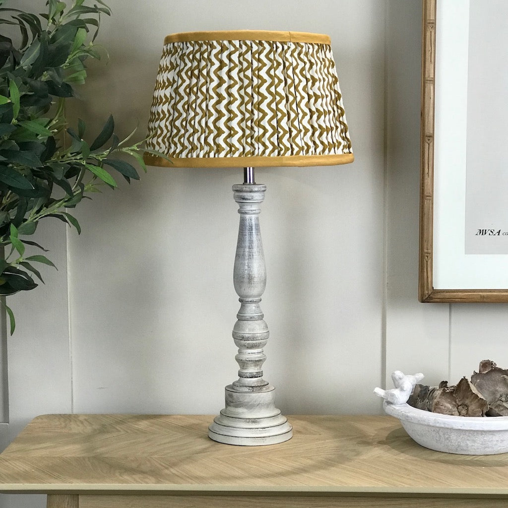 White Washed Wooden Table Lamp Mustard Ikat Shade