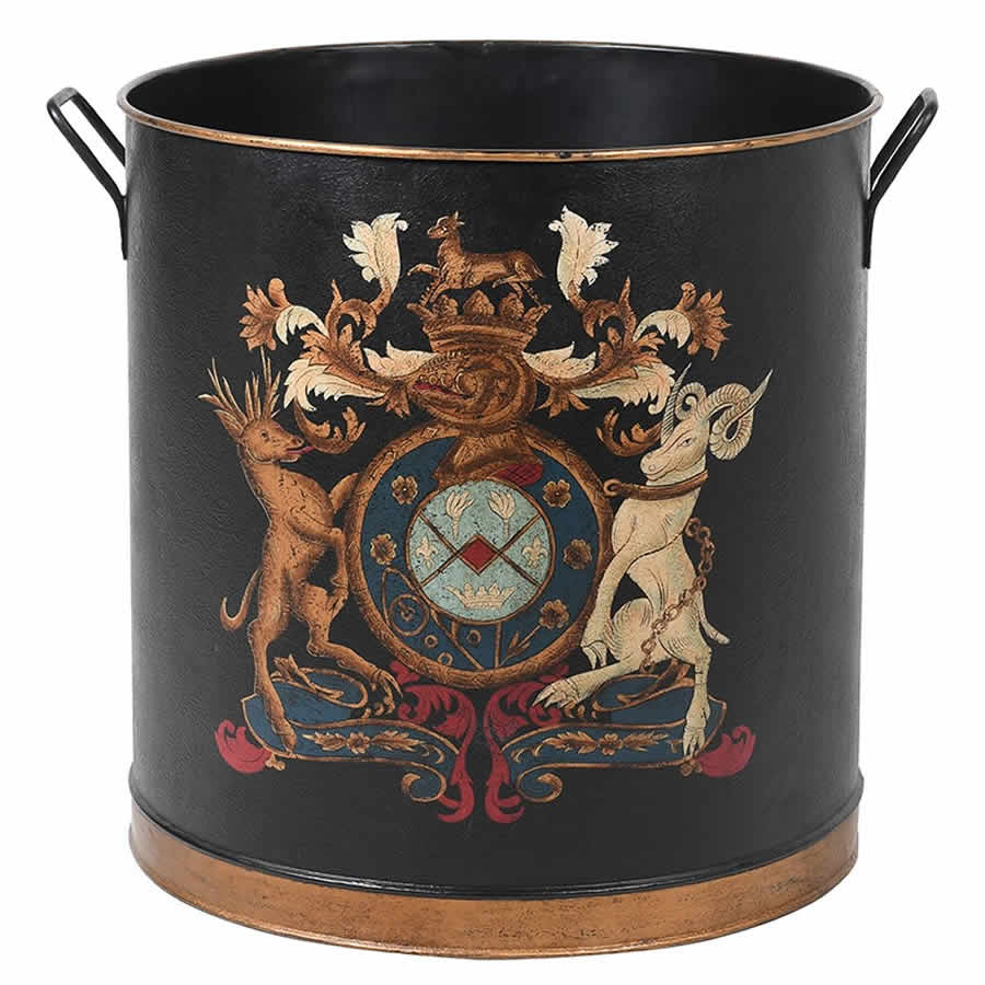 Armorial Coat of Arms Large Round Metal Log Bin