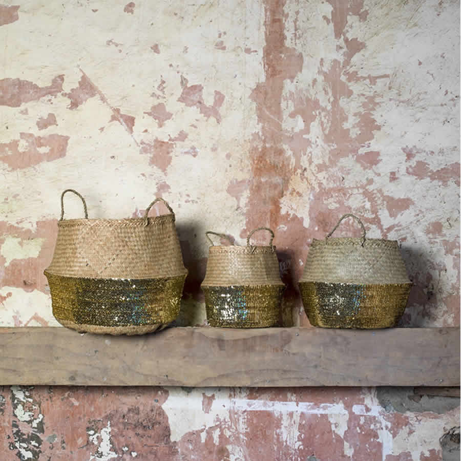 Handmade Artisan Woven Grass Basket With Gold Sequins