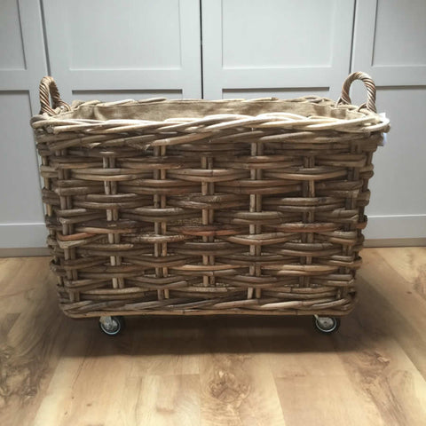 Chunky Weave Rectangle Log Toy Baskets with Wheels Ear Handles Removable Hessian Liner