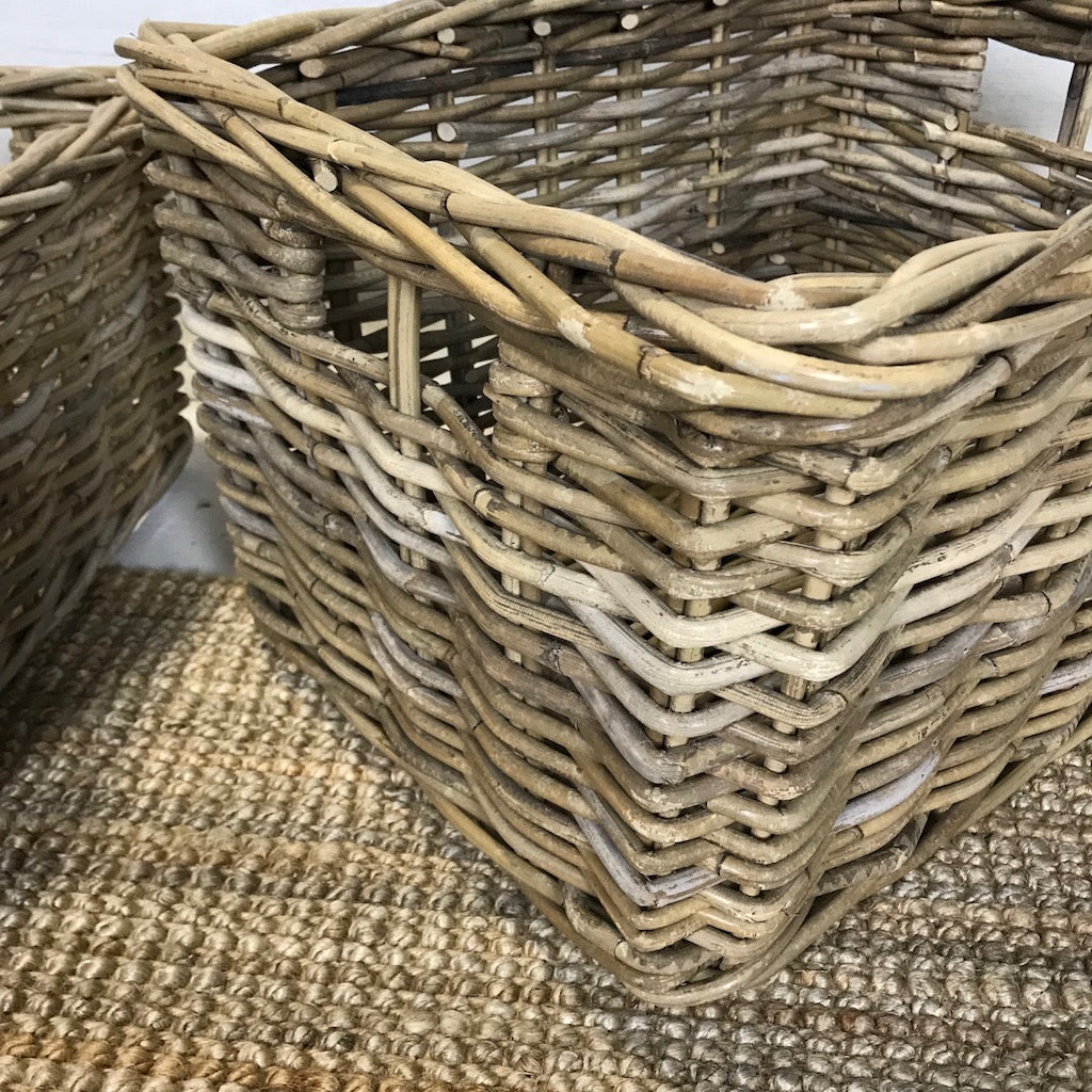 Wicker Rectangle Utility Log Toy Baskets Set 2 Cut Out Handles