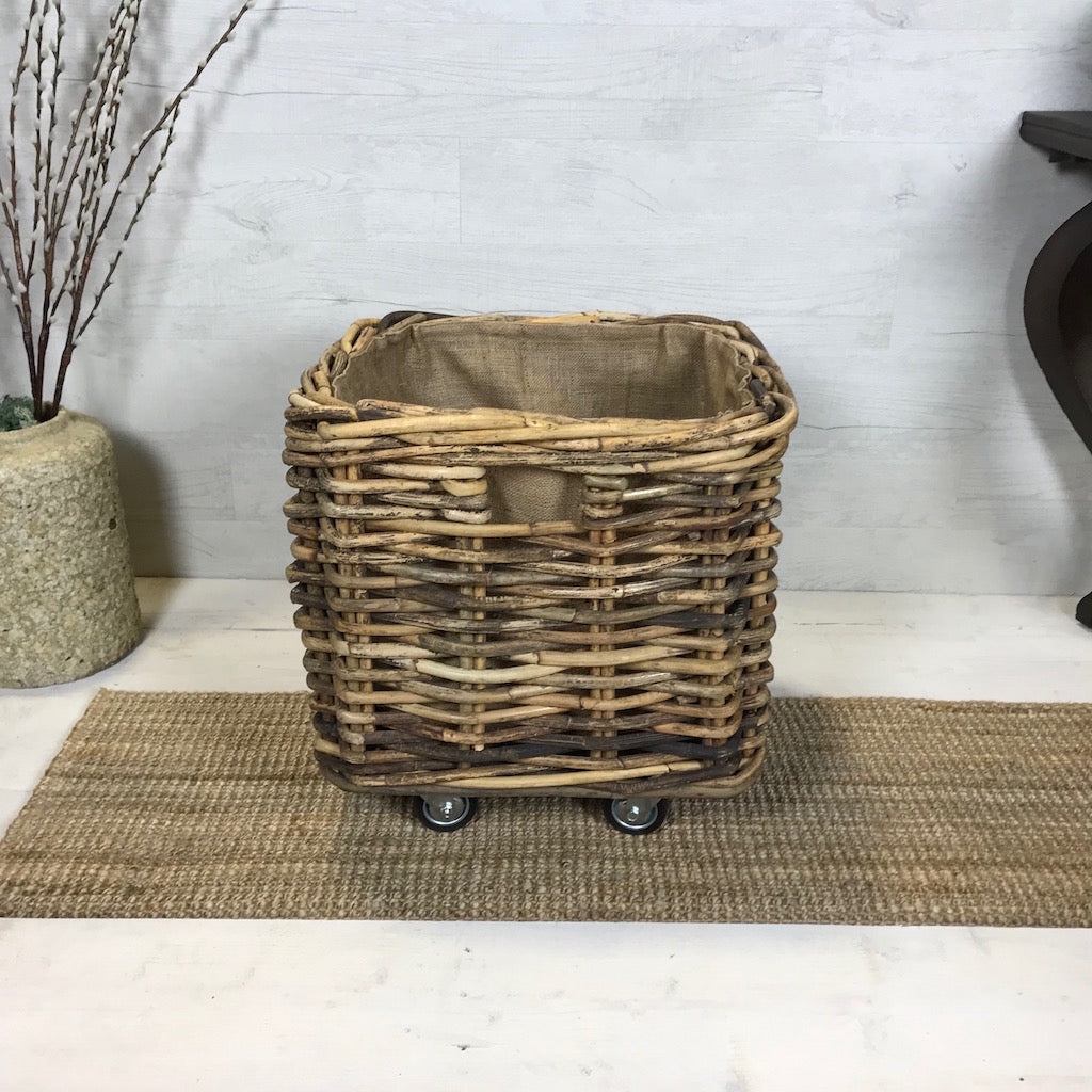 Large Square Wicker Log Toy Basket Wheels Removable Hessian Liner