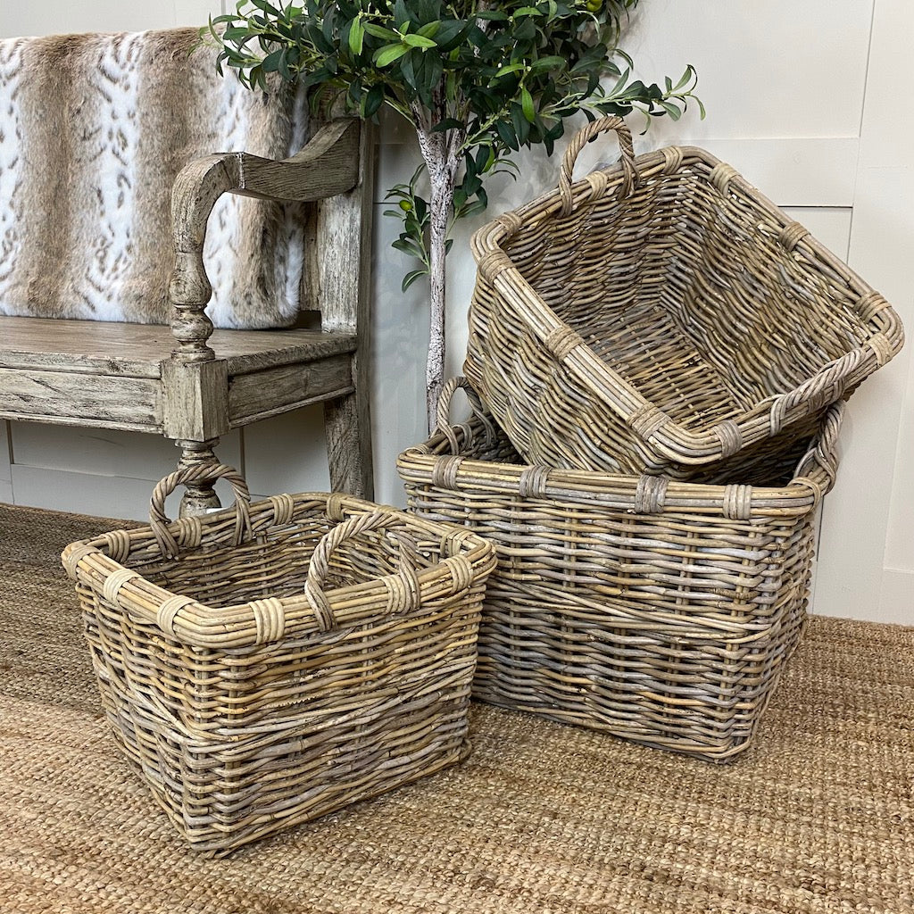 Square Log Toy Baskets Handles 3 Sizes