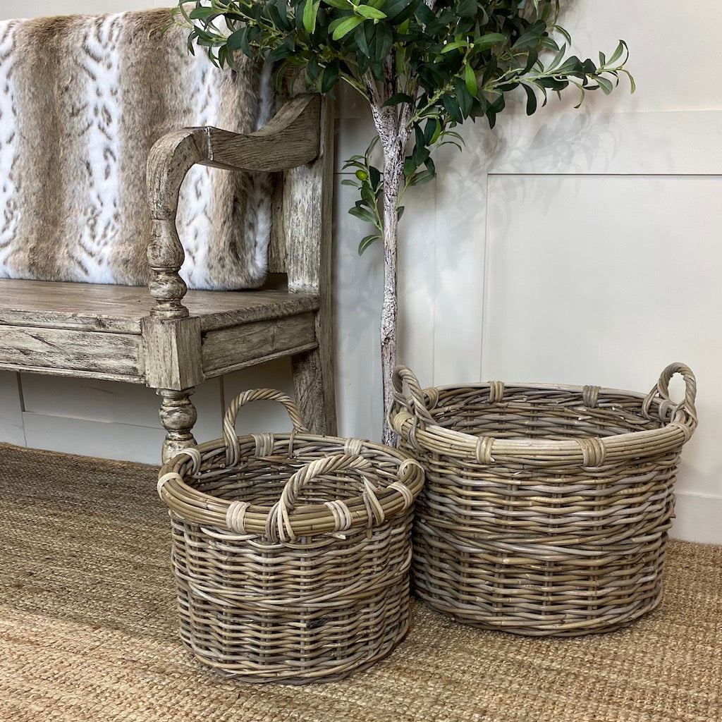 Round Baskets with Ear Handles Set of 3